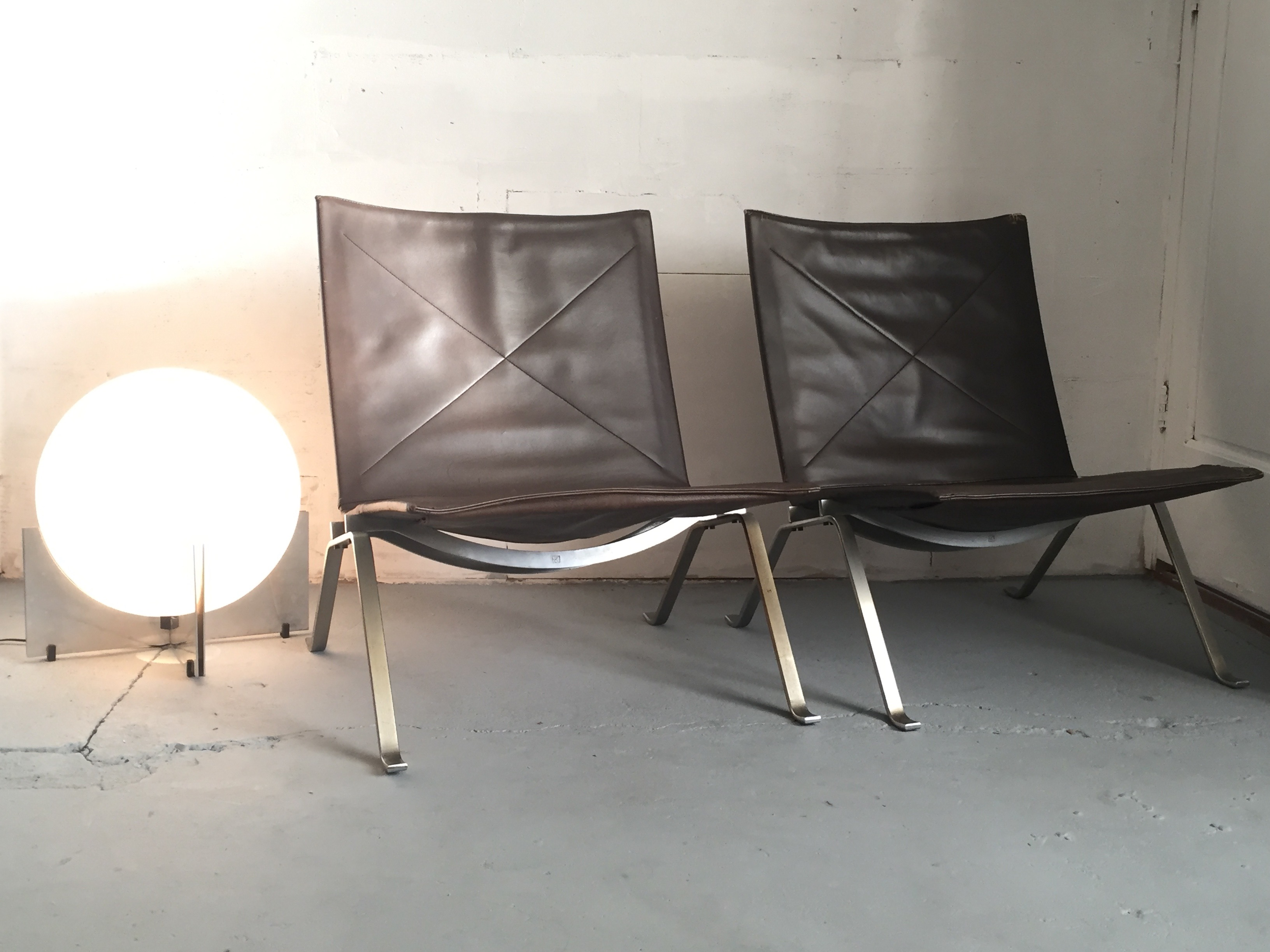 Kold Christensen PK22 Chairs by Poul Kjaerholm and a very rare Tronconi Bull Lamp